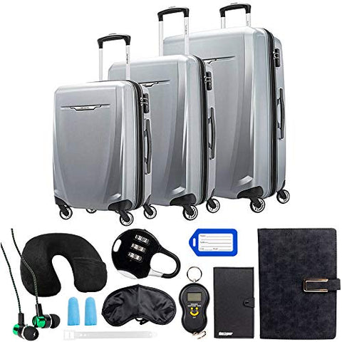 Samsonite Winfield 3 DLX 3 Piece Set (Spinner 20/25/28), Silver (120751-1776) with Deco Gear 10 Piece Luggage Accessory Ultimate Travel Bundle
