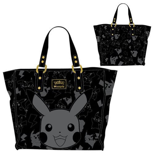 Pokemon Pikachu Black Embossed Tote Purse