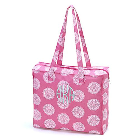 High Fashion Print Zippered Top Tote Bag Pink Maddie