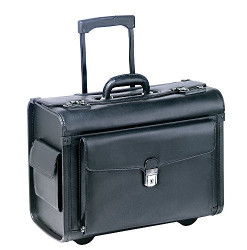 Mancini BUSINESS Wheeled Catalog Case, Leather Rolling Business Briefcase, Black