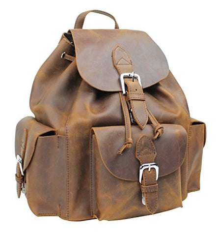 Vagabond Traveler Spacious Oil Tanned Cowhide Leather Backpack L26. Vintage Brown