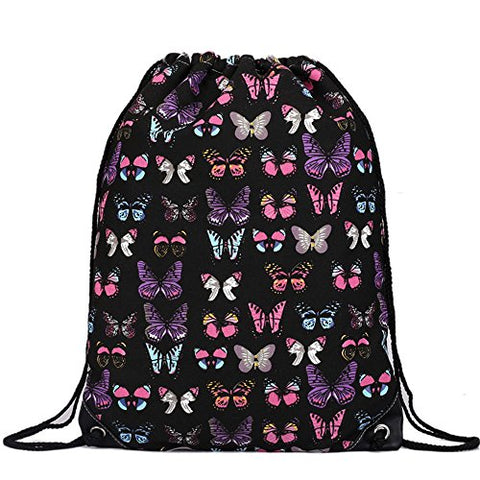 Cotton Canvas Waterproof Printed Drawstring Gym Work Backpack Rucksack (Butterfly Black)