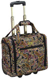 "London Fog Cranford 15"" Under The Seat Bag, Black Gold Plum Paisley"