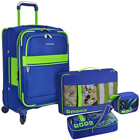 U.S Traveler Alamosa 4-Piece Luggage Set - 3 Spinners And 3 Packing Cubes - Royal Blue