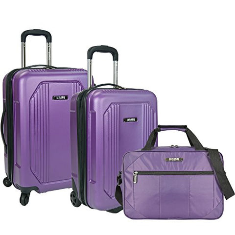 U.S Traveler Bloomington Carry-On 3-Piece Luggage Set - Purple