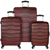 Elite Luggage 3-Piece Hardside Spinner Luggage Set, Red
