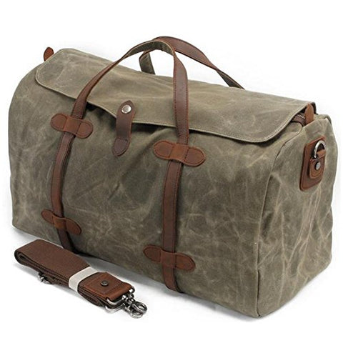 S-Zone Waterproof Waxed Canvas Leather Trim Travel Tote Duffel Handbag Weekend Bag