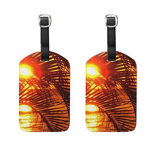 Luggage Tags Gallery Hawaii Sunset Palm Tree Womens Bag Suitcase Tags Holder traveling