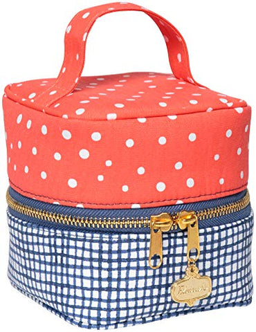 C.R. Gibson Red Polka Dot Blue and White Checkered Travel Makeup Bag for Women, Red & White