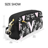 ColourLife Repeating Ink Brush Strokes PU Leather Pencil Case Holder Pouch Makeup Bags for Boys Girls Adults