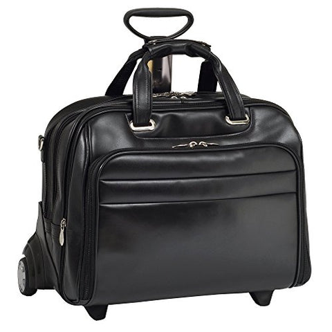 "Check-Point Friendly Wheeled Laptop Case, Leather, 15.6"" in, Black - Midway 