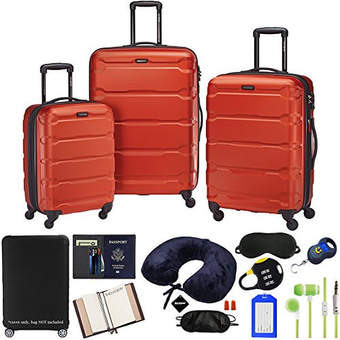 Samsonite Omni 3-Piece Nested Spinner Set - Burnt Orange with Accessory Kit