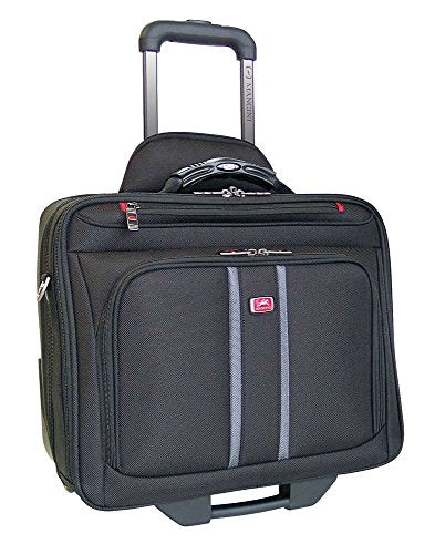 Mancini BIZTECH CompuRoller-Double Compartment Wheeled Laptop Briefcase in Black