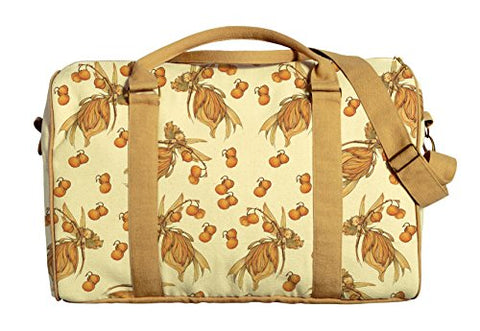 Yellow Fairies Printed Canvas Duffle Luggage Travel Bag Was_42