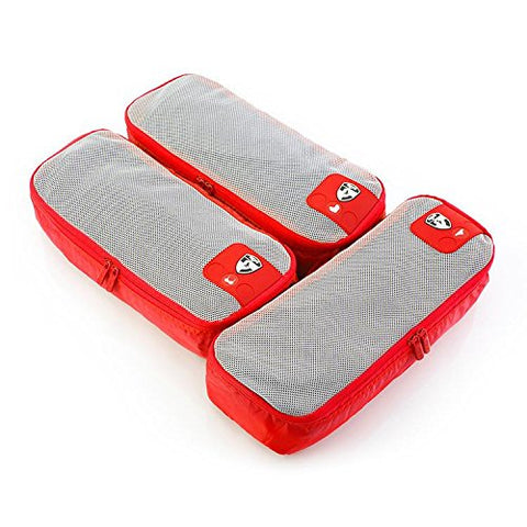 Heys Pack ID 3 Piece Slim Packing Cube Set Red
