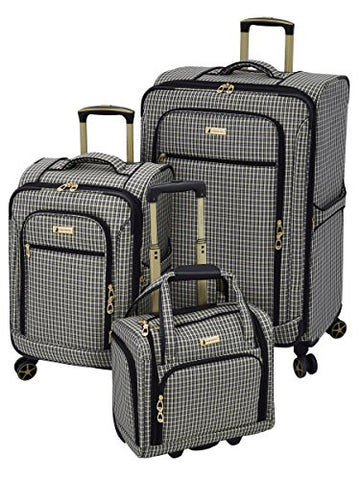 London Fog Softside 3 Piece Set, Black Tan Plaid