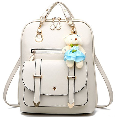 Mini Backpack Multi-Way Womens Backpack Purse Cute School Backpack For Teen Girls,White