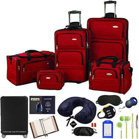 Samsonite 5-Piece Nested Luggage Set, Red with Ultimate 10-Piece Luggage Kit