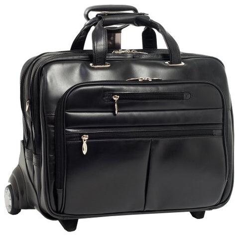 McKleinUSA Ohare 86535 Black Leather Fly-Through Checkpoint-Friendly 17 Detachable Wheeled Laptop Case