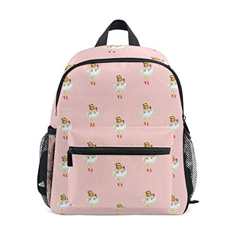 GIOVANIOR Vintage Ballerina Cartoon Ballet Dancer Girl Pink Travel School Backpack for Boys Girls