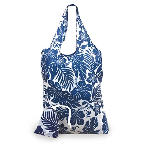 Isle Heritage Foldable Tote Shopping Bag Hibiscus Floral Blue One Size