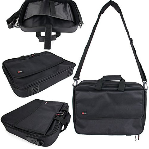 DURAGADGET Black Laptop Briefcase Style Bag with Multiple Compartments for The HP 15-bs558sa |
