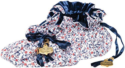 "C.R. Gibson Red, White, and Blue Floral Satin Drawstring Travel Jewelry Pouch, 6"" W x 4"" H"