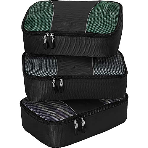 eBags Small Packing Cubes for Travel - Organizers - 3pc Set - (Black)