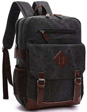 Aidonger Vintage Canvas Laptop Backpack School Backpack (Black)