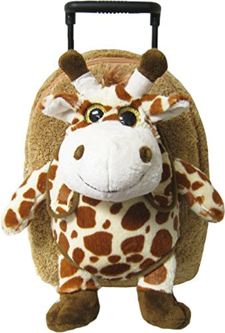 Kreative Kids Adorable Giraffe Plush Rolling Backpack W/ Shiny Eyes, Removable Stuffed Toy & Wheels