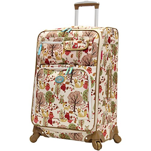 "Lily Bloom Midsize 24"" Expandable Design Pattern Luggage With Spinner Wheels For Woman (24in, Forest)"