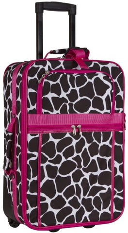 Pink Giraffe Print 20-Inch Expandable Carry On Rolling Luggage
