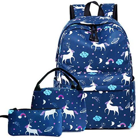 Hey Yoo 3pcs Laptop Backpack 3 Pieces Casual Hiking Daypack Bookbag School Bag Backpack Sets for Girls Women (Blue Unicorn)