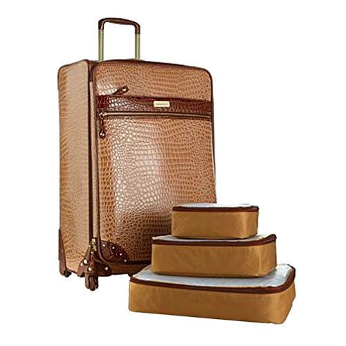 "Samantha Brown 21"" Upright Spinner with 3-piece Packing Cubes - Caramel"