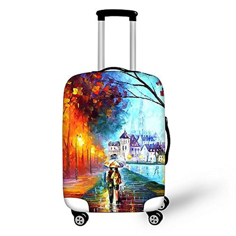 Stylish Painting Pattern Travel Luggage Cover Fits 18 to 32 Inch Suitcase Protector