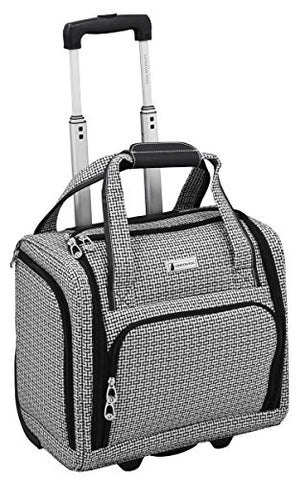 "London Fog Softside 15"" Under The Seat Bag, Black White Square Jacquard"