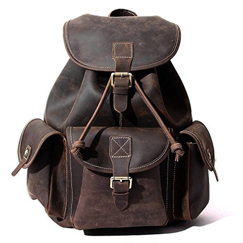 Leather Backpack, Berchirly Vintage Real Leather Travel Backpacks Rucksack School Laptop Camping