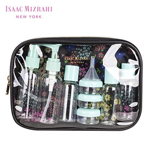 Isaac Mizrahi Fashion Printed 11Pc Toiletries Container Travel Kit, Floral/Black
