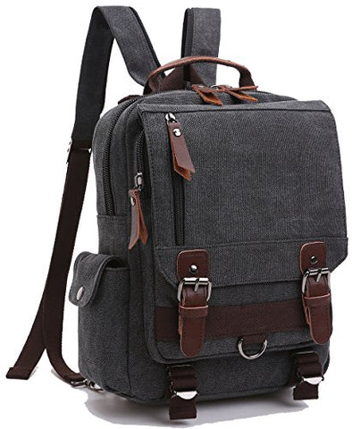 Zuolunduo Small Canvas Backpack Schoolbag Shoulder Bag Rucksack Daypacks M8596Sj,Black