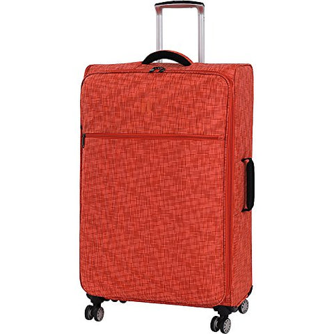 "it luggage 30.5"" Stitched Squares 8 Wheel Lightweight Expandable Spinner, Orange"