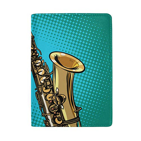 Saxophone Solo Performance Blocking Print Passport Holder Cover Case Travel Luggage Passport Wallet Card Holder Made With Leather For Men Women Kids Family