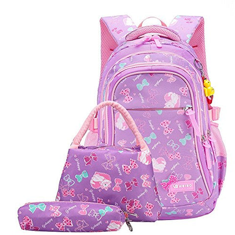 Fanci 3Pcs Bowknot Cat Prints Elementary Girls School Bookbag Rucksack for Primary Girls School