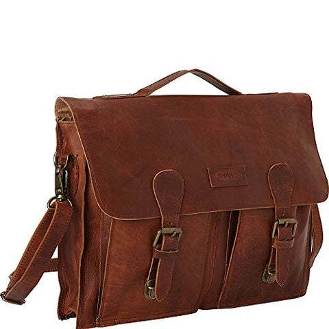 Sharo Leather Bags Soft Leather Laptop Messenger Bag and Brief (Dark Brown)