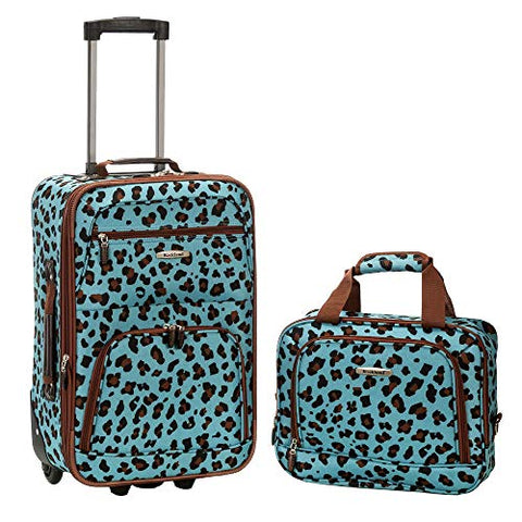 Rockland 2 Piece Luggage Set, Blue Leopard, One Size