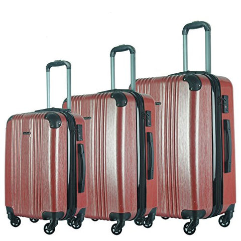 3 Pc Luggage Set Durable Lightweight Spinner Suitecase Lug3 6111 Red