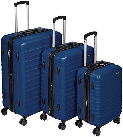 "Amazonbasics Hardside Spinner Luggage - 3 Piece Set (20"", 24"", 28""), Navy Blue"