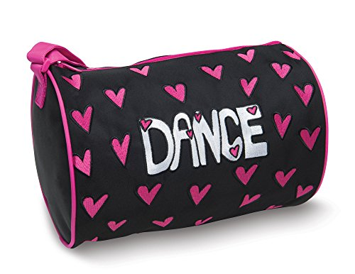 DansBagz by Danshuz Girl's Hearts For Dance Duffel Bag, Black, Hot Pink, OS