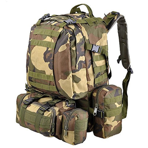 "Aw Woodland Camouflage Camping Bag 23X19X5.5"" Oxford Nylon Backpack Travel Hike Camp Climb Military"