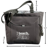 "Teacher Peach ""I Teach"" Teacher Tote Bag - Motivational Work Bag With Pockets, Organizers, Zippers,"
