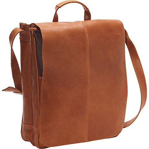 Ledonne Distressed Leather Laptop Messenger Bag, Tan